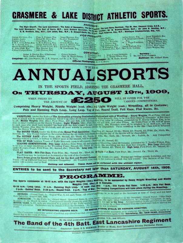 Grasmere Sports 1909 Poster